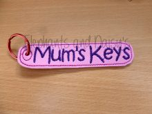 Mum's Keys Keyring Design file