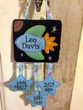 Rocket and Stars Birth Hanger 4×4 design file