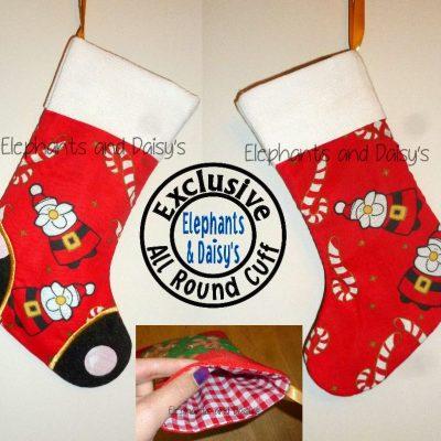 Satin Stitch Toe Stocking with All Round Cuff Design file
