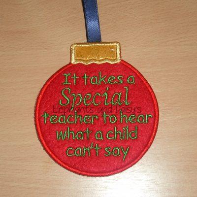 Special Teacher Bauble Design file